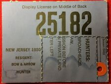 New Jersey 1980 Resident Bow & Arrow Hunting License - Nj