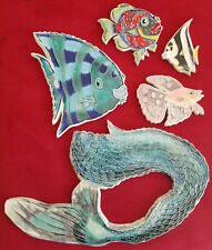 5 unique, handmade ocean themed tiles, mermaid tail, fish, by Bahloo