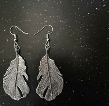 Large Silver Feather Dangly Earrings - Handmade