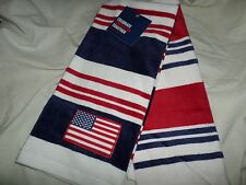July 4 Red White & Blue Stripe Appliqued Flag American Kitchen Hand Towels NWT