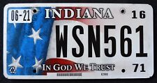 "INDIANA "" IN GOD WE TRUST - FLAG - WSN 561 "" IN Specialty Graphic License Plate"