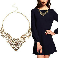 Women Retro Collar Chain Necklace Bronze Lace Carving Flower Choker Necklaces UK