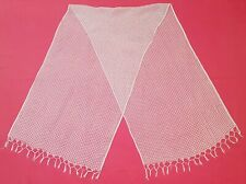 VINTAGE AUTHENTIC SOLID WHITE MESH SILK BLEND LONG WOMEN'S FRINGE SCARF