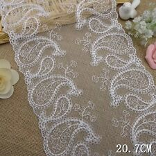 """1 Yard Pretty Paisley Embroidered Tulle Lace Trim White  8"""" Wide"""