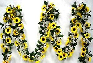Sunflower Garland Silk Flowers Wedding Arch Fake Faux Table Runner Artificial