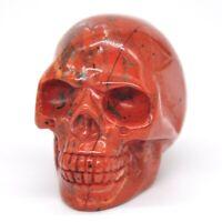 "1.9"" Red Jasper Crystal Skull Head Figurine Healing Home Decor Carving Gift"