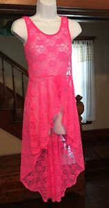 Say What? Women's High Lo Hot Pink Lace Bathing Suit Coverup Lingerie Slip Dress