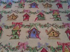 Novelty Birds and Bird Houses Holiday Fabric - Cotton - 1 Yard - Vintage 2004