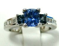 Rare Blue Sapphire Ring 18K White Gold VS Untreated GIA Appraised Heirloom $8,38