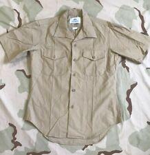 US MARINE USMC DRESS SHIRT KHAKI 2122 SHORT SLEEVE MAN'S POLY/WOOL NO RANK SZ 15