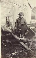 Vintage 1920's Photo of Farmer Boy Pushing Pig on Wooden Wheelbarrow Old Sled