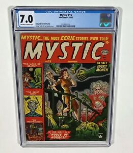 Mystic #15 CGC 7.0 RARE! (Joe Maneely cover, Stan Lee, Pre-Code) Dec.1952 Atlas