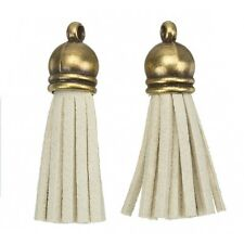Suede Tassel Charms with Bronze Cap for Jewellery & Crafts Beige 36mm (H21/4)
