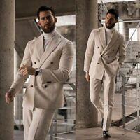 Beige Cashmere Suits Men's Double-breasted Wide Peak Lapel Formal Tuxedos 2pcs