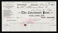 THE CINCINNATI POST NEWSPAPER ADVERTISING RECEIPT BILLHEAD 1904