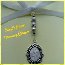 Ivory Bridal Bouquet Wedding Memory Charm with Single Oval Cameo Photo Frame