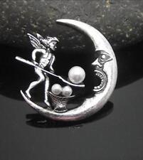 Joyería de hadas las hadas y la Luna Envejecido Perla Hada Broche Pin