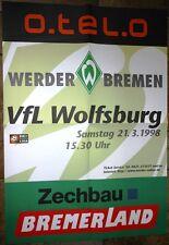 Spielplakat - 21.03.1998 - Werder Bremen vs. VfL Wolfsburg + Sammler +