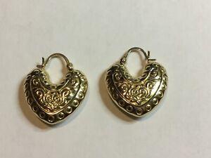 14K Yellow Gold Engraved Puffy Heart Earrings 3 grams 2.5 cm