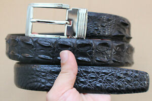 Black Genuine Alligator ,Crocodile Hornback Leather Skin Men's Belt