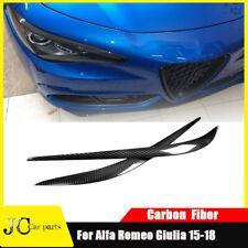 For Alfa Romeo Giulia 15-18 Real Carbon Headlight Eyebrows Eyelids Cover Trim