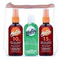 Malibu Travel Pack SPF 10 15 Dry Oil Spray Aloe Vera After Sun