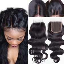 "Brazilian Remy Human Hair Body Wave Lace Closure 4x4"" Bleached Knots Frontals"