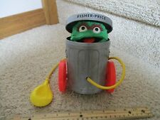 Fisher Price Sesame Street Vintage 1977 177 Oscar The Grouch Pull Toy Garbage