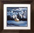"Bob Ross ""Silent Night"" Happy Trees CUSTOM FRAMED ART Nature Print Forest Cabin"