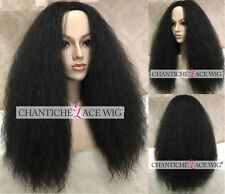 Kinky Straight Synthetic None Lace Wigs Heat Resistant Women Cheap Synthetic Wig