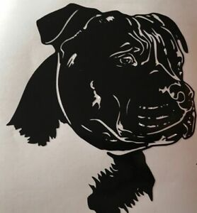 1x Staffordshire Bull Terrier Dog Vinyl Sticker Car Camper Bumper 4.5x5inchBlack