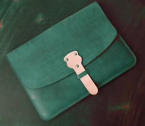 file Folder pocket cow Leather Messenger bag Briefcase Pouch handmade green z798