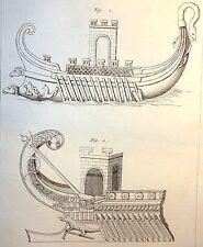 Encyclopédie Méthodique Antiquités Mythologie Navires de Guerre 1786