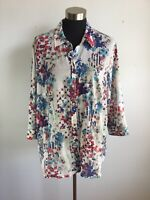 Coldwater Creek Womens Top 1X Plus Multicolor Floral No Iron 3/4 Sleeve Button