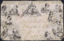 1840 Spooner Envelope No 5 Mulready Caricature Used Front Birmingham to Coventry
