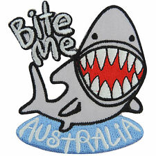 Bite Me Australia Australian Shark Fish Fishing Sea Ocean Iron-On Patches #A090