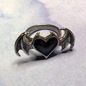 New Alchemy Gothic Pewter Enamel Black Soul Ring UK Made R240