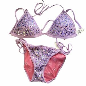 Victorias Secret Beach Sexy Sequin Set Triangle Top L String Bikini L