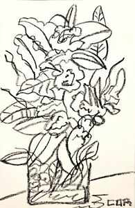 IMPRESSIONISM FLOWER VASE SUNDAY MORNING CONTEMPORARY CORBELLIC DRAWING SKETCH