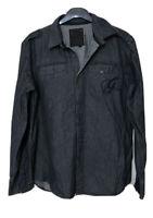 G Star Raw Long Sleeve Shirt Navy Blue Mens Size XL (C834)