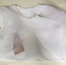 Joan Calabrese Beaded White Organdy Jacket Size 14