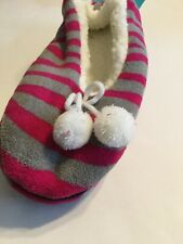 New Sherpa Lined Cozies Slippers - Pink And Grey Zebra Print - S/M 6-7.5