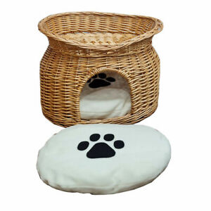 Wicker Cat House Pet Bed Basket Kitten Tower Cozy Cave Cushions Honey