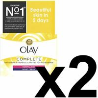 2 Olay 3-In-1 Night Cream Normal To Dry Moisturiser Essentials CompleteCare 50ml