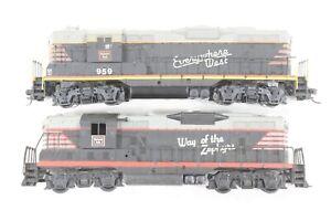 "HO Athearn Burlington Route ""Blackbird"" GP7/9 Power/Dummy Pair, Tested"