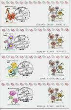 1990 Korea - 1597-1600, First Day Cancelled Booklets - Mint MNH - Wild Flowers