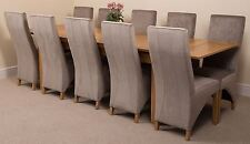 Richmond Large Extending Solid Oak Dining Set Table and 10 Grey Fabric Chairs