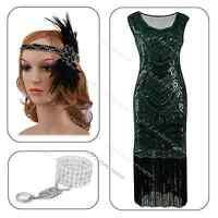 1920s Vintage Flapper Dress Embellishe Size 6-20 Evening Charleston Gatsby Party