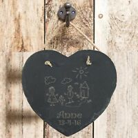Personalised Birthday Gift Child 1st Drawing Slate Hanging Heart Keepsake Plaque