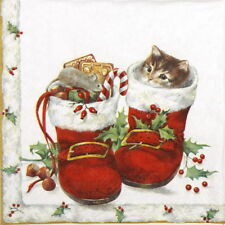 4x Paper Napkins for Decoupage Craft and Party - Sweet Christmas Boots